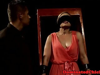 Blindfolded mature sub gets her cunt drilled