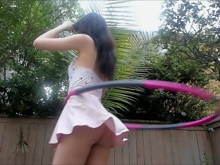 Hula Hooping with no Panties TONS of Upskirt ♡