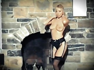 READY - British blonde beauty stockings dance tease