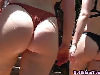 Big ass thongs bikini close up voyeur beach hidden cam