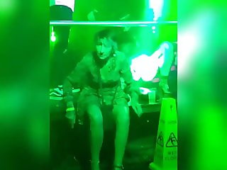 Upskirt in the club (black knickers)