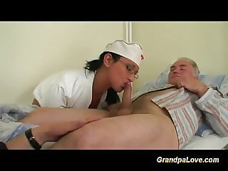 grandpa gets fucked by sexy nurse