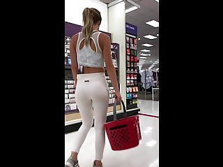 Fit Blonde in White Yoga Pants