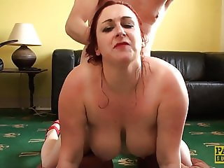Fat redhead subslut Scorpio dick and ball gagged