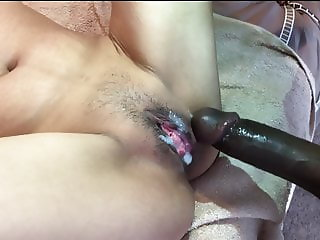 Big black cock creampie tiny Asian