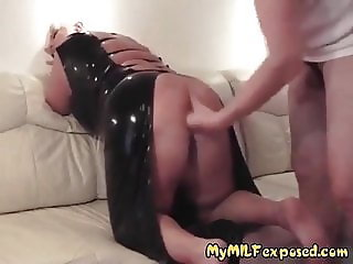 My MILF Exposed Huge tits wife in latex dress playing moist