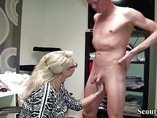 GERMAN MILF BOSS SEDUCE JOB CANDIDATE TO FUCK HER IN OFFICE