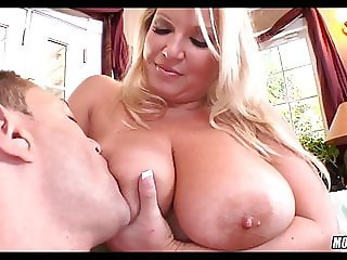 Blonde MILF with huge Milkers