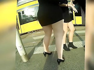 walking tan pantyhose