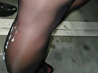Another garage cum on stockings, sexy shoes