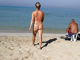 orange thong g string sexy micro bikini public beach milf