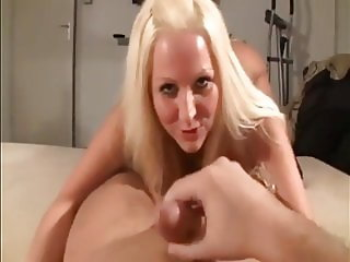 Stunning German Blonde Rides Cock and Take Cumshot