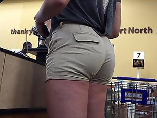 Thick Amazon Blonde Big Ass in Shorts