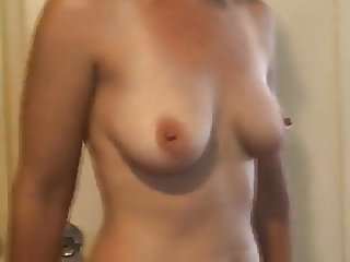 topless wife posing