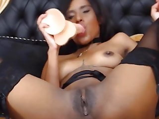 Teen black girl Eva with pierced nipples and small boobs