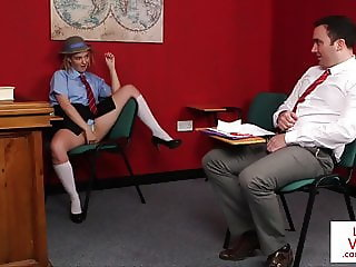 Naughty student instructs teacher to jerk