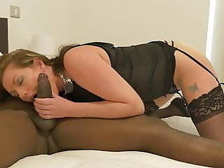 White busty MILF fucked by black son