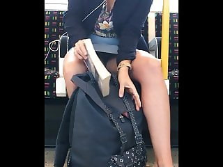 Candid Lucky Upskirt Downblouse oops on Train - Morning Wood