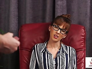British CFNM office voyeur enjoys JOI