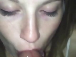 Hot slut blows a BBC and takes cum on her mouth and face