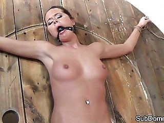 Ballgag sub toyed while bound by her maledom