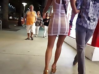 Candid Asian in Mini Dress and Heels