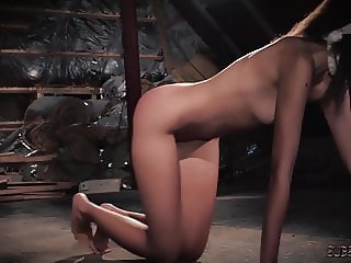 Fitness chick bondage in sex dungeon endures kinky bdsm