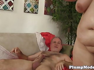 Redhead BBW screwed in both holes at once
