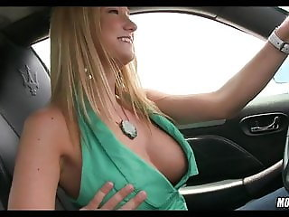 Gorgeous Blonde Sucks in the Car.