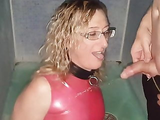 Golden Shower Pissing on Pink Latex Dress . Mike and Lisa