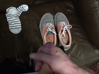 Cumshot #3 in stolen vans sneakers and socks