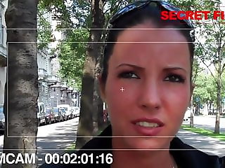 Street casting sexy brunette in stockings