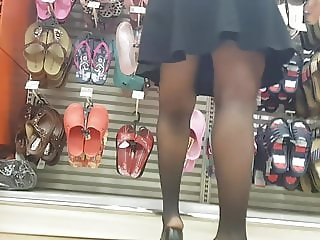 Hot milf shopper in sheer black pantyhose