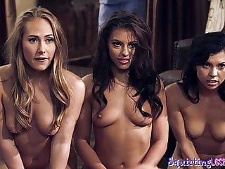 Sapphic babes squirting in group scene