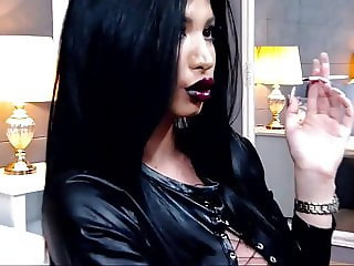 KhandiJanel Dark Lips Long White Nails Smoking