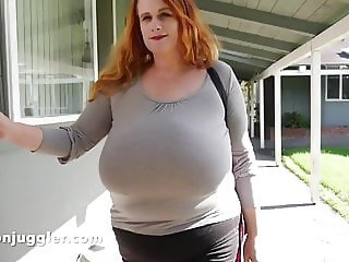 Tight clothes cover her massive juggs