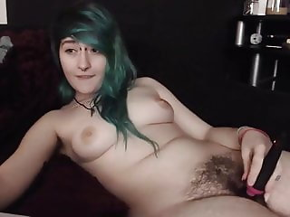 Hairy Girl Playing Her Bush