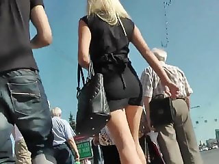 Candid Upskirt Blonde in Mini Skirt and High Heels