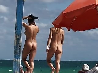 Brunette and Blonde on Nude Beach