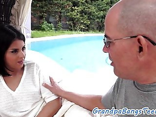 Petite euro drilled by a horny pensioner