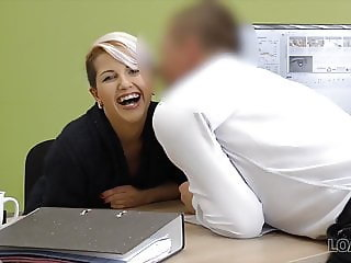 Beautiful business lady gets necessary money for fucking