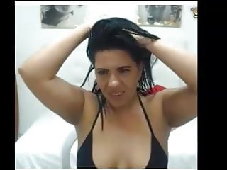 Hot Model Seema Oiling her Hair and body  playing