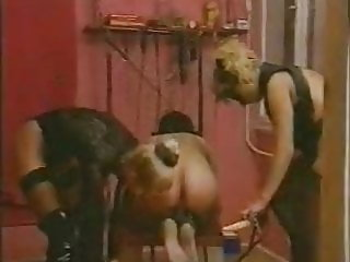 2 Mistress' fuck slave with strap-on KOLI
