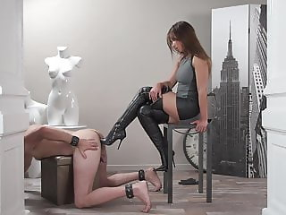 cute girl fucks her slaves asshole