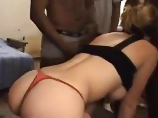 Hot white woman gets ganged by black
