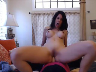 Dirty talking cougar Joscelyn rides dildo and gets orgasm