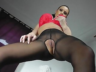 Black nylon and red heels masturbation