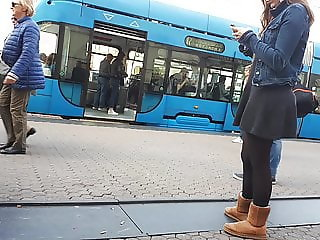 Girl wait for tram 5