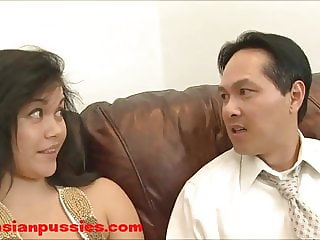 Fat Milf Asian Slob fucks small dick asian loser cant cum