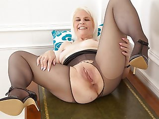 British milf Skyler covers her bare fanny with tights